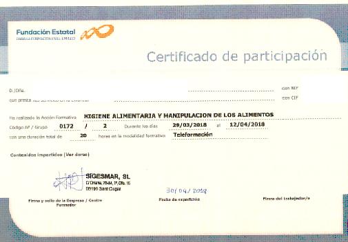 Certificado de formación Sigesmar S.L.