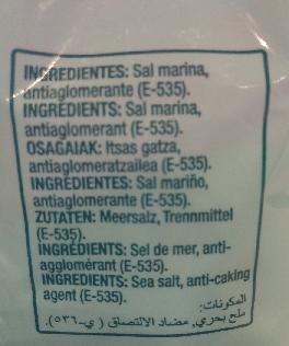Sal marina con yodo