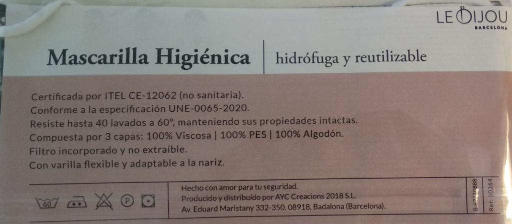 Etiqueta mascarilla Norma UNE 0065