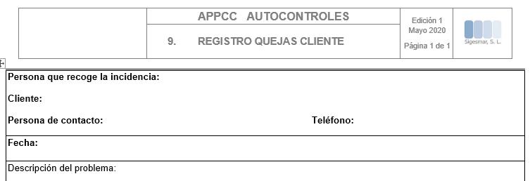Registro de quejas de clientes