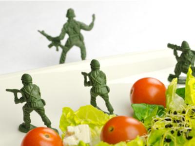 Soldados defendiendo los alimentos